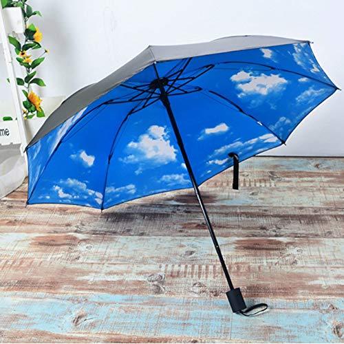 weichuang Paraguas 3D Azul Cielo Blanco Nubes Impresión Paraguas Mujeres Sombrilla Hombres Sombrilla Lluvia Paraguas Soleado Viento Parapluie Paraguas