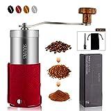 SULIVES 手挽き コーヒーミル コーヒー ステンレス製 珈琲 小型 アウトドア 20G 1~3人分(レッド)