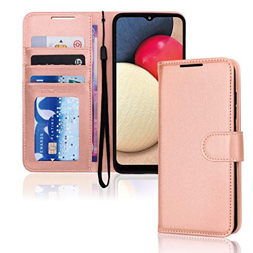 TECHGEAR Funda tipo cartera para Galaxy A02s de piel sintética con tapa y soporte para tarjetas, soporte y correa para la muñeca, color oro rosa con cierre magnético diseñado para Samsung A02s