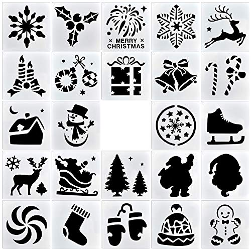 Christmas Painting Stencils 3 x 3 Inch Templates for Wood Slice Scrapbooking Cookie Tile Furniture Wall Floor Decor Craft Wood Burning Drawing Tracing DIY Art Supplies (24pack-Christmas Element)