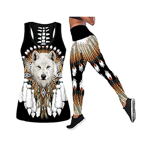 Indian Wolf Animal Art 3D Ropa De Yoga con Impresión Digital, Camiseta Sin Mangas Y Leggings De Moda Sexy para Mujer, Conjunto De 2 Piezas, Adecuado para Yoga/Fitness/Jogging, Absorción del Sudor