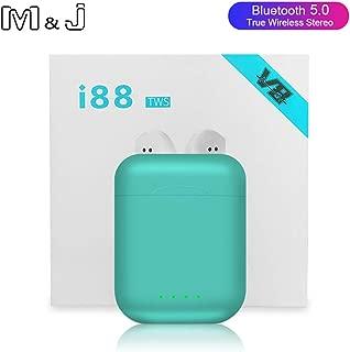 M&J i88 TWS Wireless Bluetooth 5.0 earphone Earbuds Sports Gaming Headsets headphones For i10 tws i12 i30 i60 tws Iphone Xiaomi (green)
