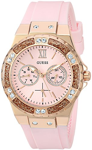GUESS Rose Gold-Tone Stainles Steel + Pink Stain Resistant Silicone Watch with Day + Date Functions. Color: Pink (Model: U1053L3)