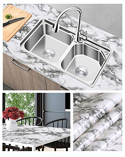 Marble Wallpaper Contact Paper Self Adhesive Waterproof Contact Wall Paper,15.8x394 Inch