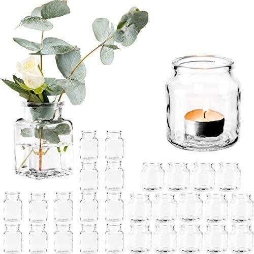Giessle 30 teiliges Set mit [ 15x Windlichter UND 15x Vasen ] Teelichtglas, Gläser für Teelicht, kleine Glasvase