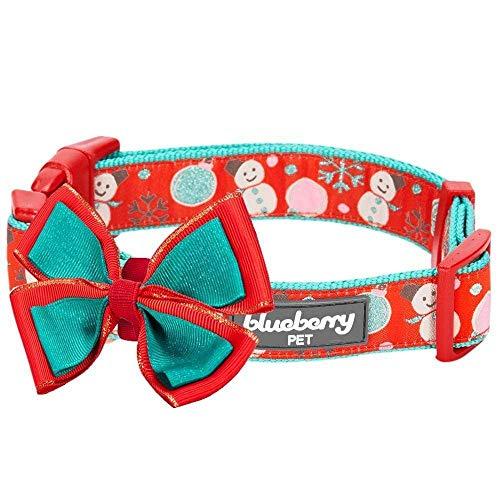 Blueberry Pet 4 Patterns Christmas Moments of Excitement Snowman Making Designer Adjustable Bowtie Dog Collar, Medium, Neck 14.5'-20'