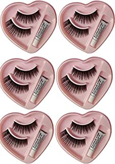 Bonjour False-Fake Eyelashes With Glue Set Natural (Pair of 6)