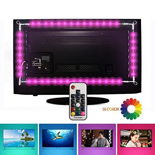 Led TV Hintergrundbeleuchtung, EveShine 78.7in/ 2 m/4 Leiste, mehrfarbige RGB TV LED Hintergrundbeleuchtung mit Fernbedienung USB für 40 bis 60 Zoll HDTV,TV-Bildschirm und PC-Monitor