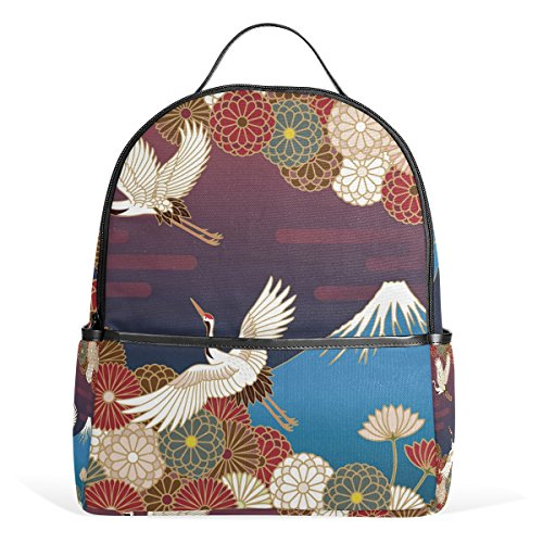 TIZORAX Fuji Mountain Cranes and Flowers Laptop Backpack Casual Shoulder Daypack for Student School Bag Handbag - Lightweight