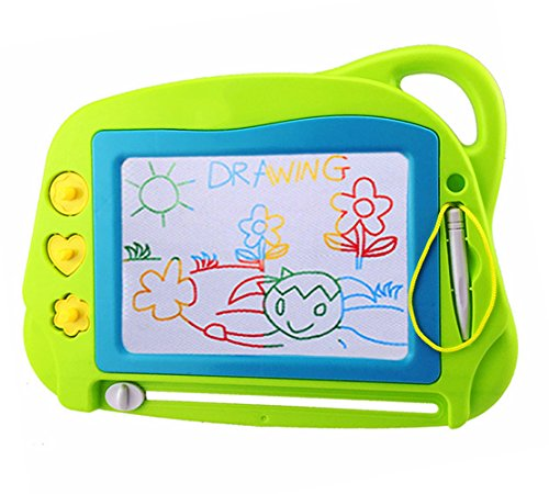 AiTuiTui Magnetic Drawing Board Mini Travel Doodle Erasable Writing Sketch Colorful Pad Area Educational Learning Toy for Kid / Toddlers/ Babies with 3 Stamps and 1 Pen Green