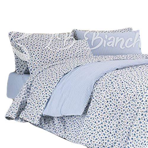 Completo sábanas Sanremo–Made in Italy–100% algodón de trama tupida–2piazze. cama de matrimonio–Azul