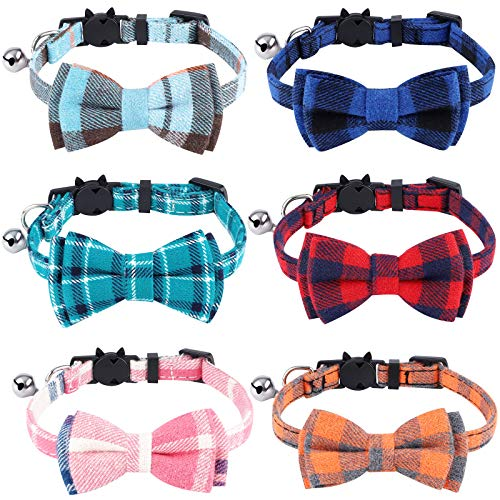 URATOT 6 Pieces Cat Collars with Bow Tie and Bell Breakaway Cat Collars Plaid Kitten Collar Safety...