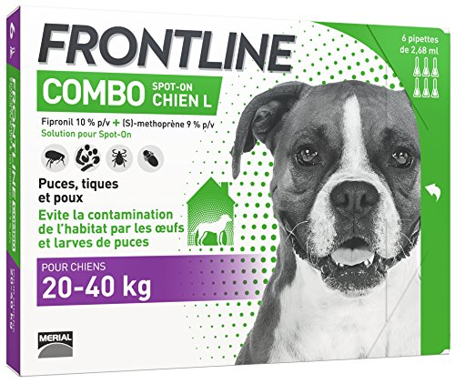 FRONTLINE Combo Chien - Anti-puces et anti-tiques pour chien - 20-40kg - 6 pipettes