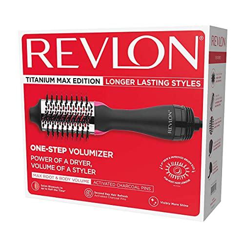 REVLON - Cepillo de aire caliente para secador de pelo y volumizador, Titanium Max Edition