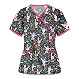 Womens Scrub_Tops Easter Bunny Shirts V-Neck Working Uniform with Pocket Workwear Cute Spring Summer Holiday Short Sleeve Tops Blouse