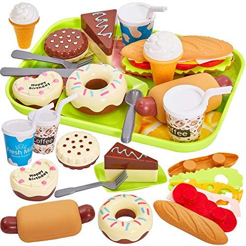 HERSITY Alimentos de Juguete Hamburguesas Helados Pastel con Bandeja Juegos de rol Regalo para Niños
