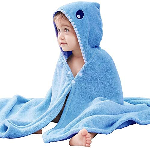 Moorfowl Shark Hooded Bath Towel Poncho Seattle Mall Baby Ultra New product type Soft for Kids