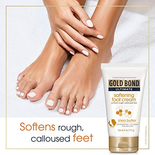 Gold Bond Ultimate Softening Foot Cream with Shea Butter, Leaves Rough, Dry, Calloused Feet, Heels, and Soles Feeling Smoother and Softer, Includes Vitamins A, C, E, and Silk Amino Acids, 4 Ounce