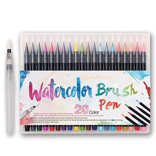 WCOCOW Set di 20 pennarelli a Colori - Vera Punta a Pennello soffice e Flessibile,perfette per Album da colorare per Adulti, Manga, Fumetti, Calligrafia