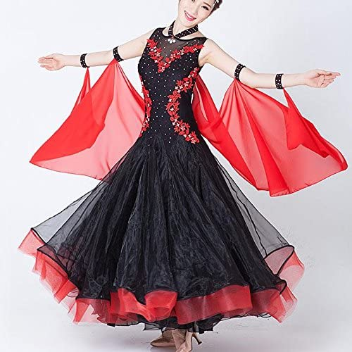 Femmes Robe de Danse de Compétition Moderne sans Manches Applique Robes de Bal Costume de Danse de Valse, XXL, noir