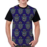Bbhappiness Men Classic Polyester Short Sleeve T-Shirts Front Print T Shirt Hand Fatima Colorful Pattern