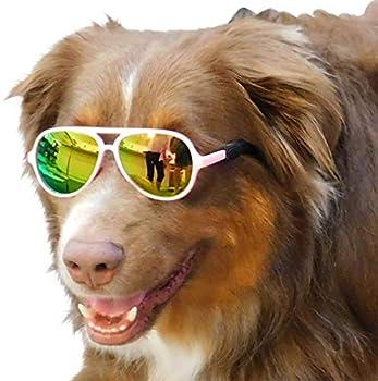 G010 Dog pet Costume Aviator Sunglasses for Medium Breeds 20-40 lbs  Pink-Rose Gold Mirror