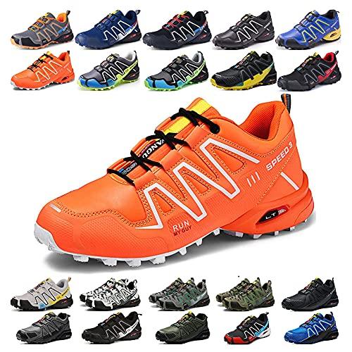 KUXUAN Calzado de Ciclismo para Hombre, Calzado de Ciclismo de Interior Sin Bloqueo,Zapatillas de Ciclismo de Montaña Impermeables,Orange-42