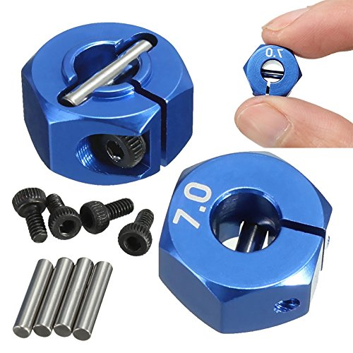 Quickbuying RC Blue Aluminum Alloy 7.0 Wheel Hex 12mm Drive 4P HSP HPI Tamiya Car Suit for All 1:10 RC Car Tire Parts Set