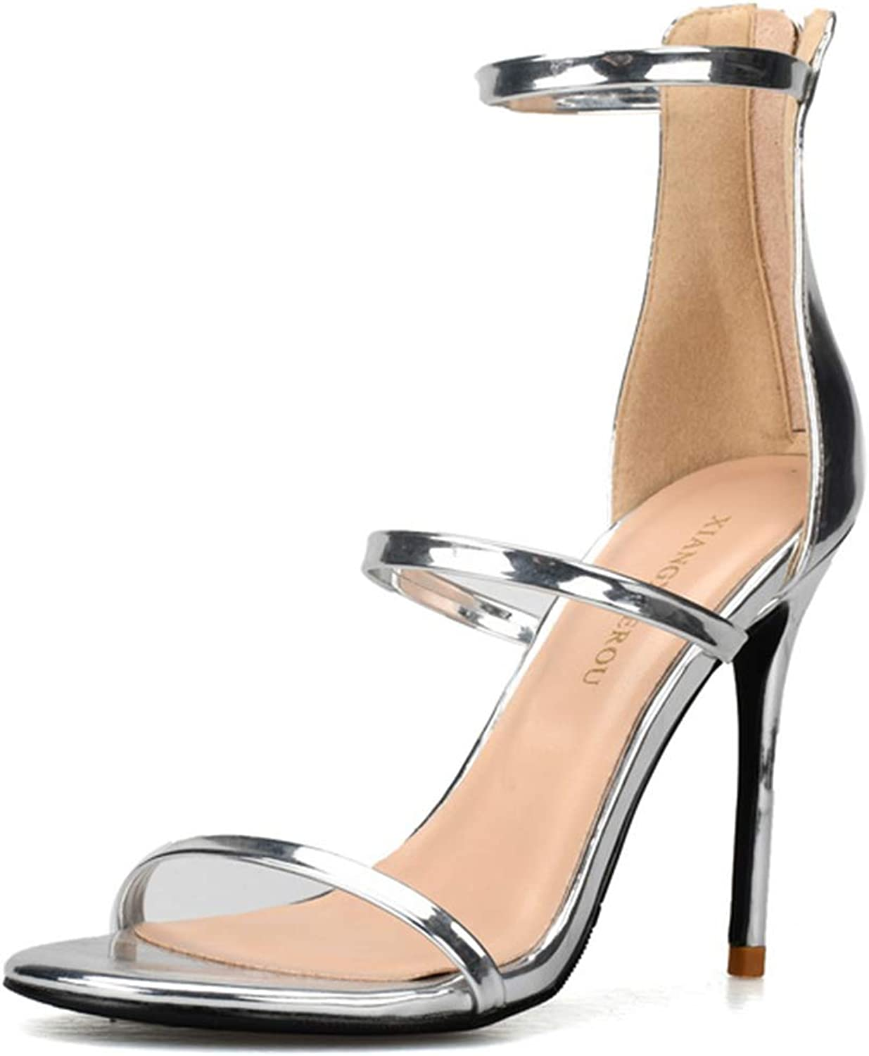 Soulength Women's Classic Peep Toe Heeled Sandals 10cm Sexy Patent Leather Open Toe Pumps Stylish and Elegant Lightweight Non-Slip shoes,lyx3