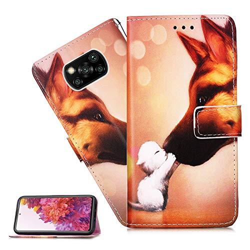 Xiaomi Mi Poco X3 NFC Hülle,Für Xiaomi Mi Poco X3 NFC Handyhülle Süße Katze Hund Flip Case PU Leder Case Cover Magnet Schutzhülle Ständer Handytasche Für Xiaomi Mi Poco X3 NFC,YB Cat Kiss Dog
