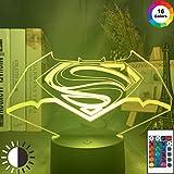 Led Nachtlicht Superman Batman Logo Usb Batteriebetriebenes Nachtlicht Für Kinder Kind Schlafzimmer Nachtbett 3D Nachtlampe Geschenk-16 Farben Mit Fernbedienung