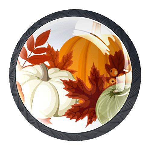 LXYDD Manijas para cajones Perillas para gabinetes Perillas Redondas Paquete de 4 para Armario, cajón, cómoda, cómoda, etc, Calabazas y Hojas de otoño