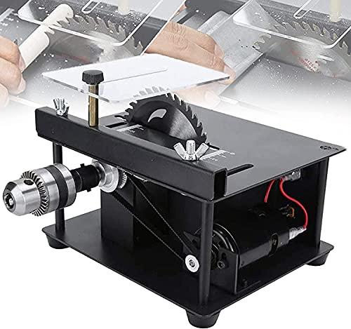 wsbdking 200w carpintería BRICOLAJE Banco de sierra circular, herramientas eléctricas de fabricación de modelos, ajuste de 7 velocidades, 10000R / min, profundidad de corte 35 mm, con corte, pulido, j