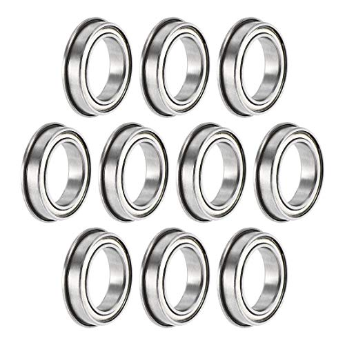 sourcing map F6701ZZ Flanged Ball Bearing 12x18x4mm Double Shielded Chrome Steel Bearings 10pcs