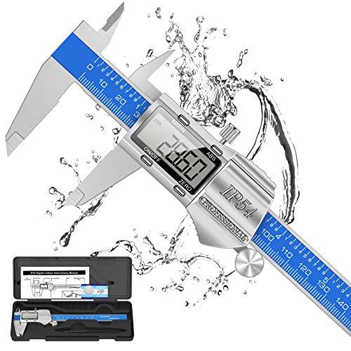 Digitale Schieblehre Industriequalität, 150mm / 6-Zoll Edelstahl Messschieber Digital Messlehre Spritzwasserdicht Staubdicht, 2 Ersatzbatterie, IP54 Wasserdichte für Innen, Außen&Stufen messung