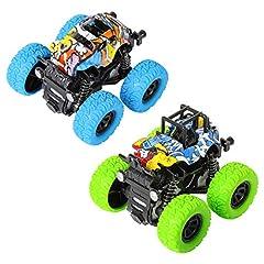 Idea Regalo - m zimoon Monster Auto a Inerzia per Bambini, 2 pacchi Auto da Corsa a Quattro Ruote Giocattolo Fuoristrada con Rotazione a 360 Gradi Regalo per Ragazzi (Blu + Verde)