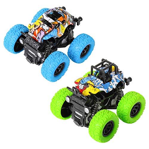 m zimoon Monster Trägheit Truck, 2 Stück Offroad Spielzeug Allrad Rennwagen mit 360 Grad Rotation Geschenk für Kinder (Blau + Grün)