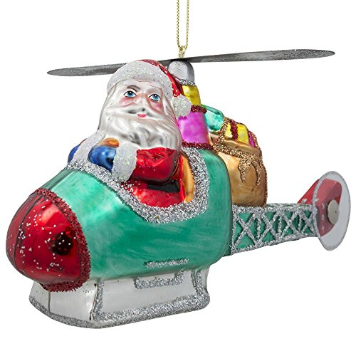 BestPysanky Santa Claus Helicopter Pilot Glass Christmas Ornament 5 Inches Long