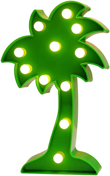 3D Tropical LED Palm Tree Light Fiesta Party Decoration Palm Tree Signs Wall Decor Holiday Birthday Party LED Marquee Lights For Party Table Decorations Cute Office Decor Seasonal Home Decor Green