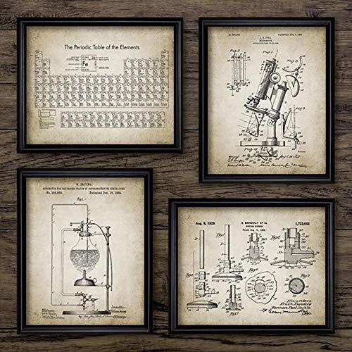 Elementos Químicos Vintage Carteles Impresos Ciencia 4 Piezas Cuadros De Arte De...