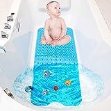 TWBEST Badewannenmatte,Duschmatte, Badematte für Badewanne, maschinenwaschbare rutschfeste Matte, extra Langer Badeeinsatz mit Ablaufloch, 40 x 100 cm (Blau)