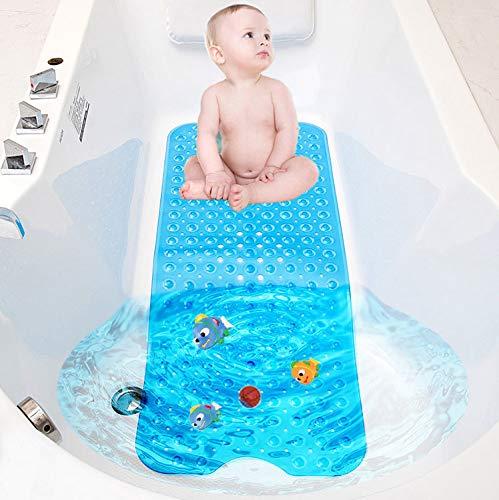 TWBEST Alfombrillas de baño Extra largas,Alfombrilla de Baño, para Bañera Antideslizante con 200 Potentes Ventosas, Antibacterial, Lavable a Máquina, Alfombra para la Ducha 100 * 40cm (Azul)