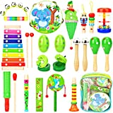Victostar Babies' Musical Instruments Toy with Backpack, Wooden Rhythm Percussion Drum Set for Toddlers Kids Preschool Gift