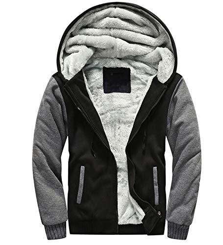 Yeokou Men's Thick Sherpa Lined Full Zip Up Fleece Hoodie Sweatshirt Winter Coat (Large, Black)