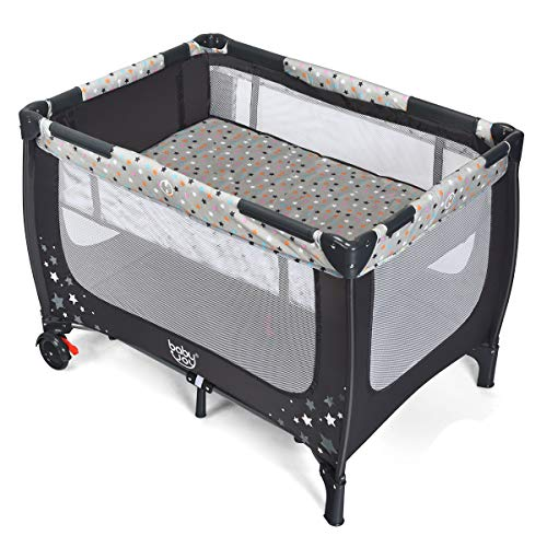 HONEY JOY Baby Playard with Bassinet, Foldable Bassinet Bed & Activity Center with Comfortable Mattress, Lockable Wheels, Easy Setup, Portable Playpen for Babies and Toddlers, Oxford Carry Bag(Gray)