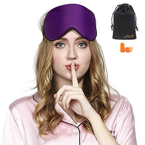 Máscara de Sueño, Antifaz para Dormir,Máscara de Noche,Ergonómico Máscara de Viaje Máscara para Los Ojos100% Seda Natural Opaco Ultra-douce para Dormircon Bolsa de Viaje-Púrpura