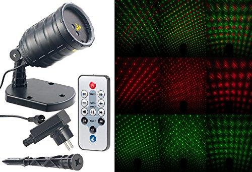 Lunartec Laser Projektor außen: Laser-Projektor mit Sternenregen-Lichteffekt, Fernbedien, Timer, IP65 (Laser Projektor Weihnachten)