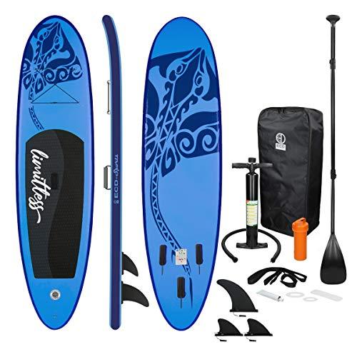 ECD Germany Tabla Hinchable Limitless Paddle Surf/Sup 308 x 76 x 10 cm Azul Stand up Paddle Board PVC hasta 120kg 3 Aletas deslizantes Diferentes Modelos Incl Paleta Aluminio Bomba y Accesorios