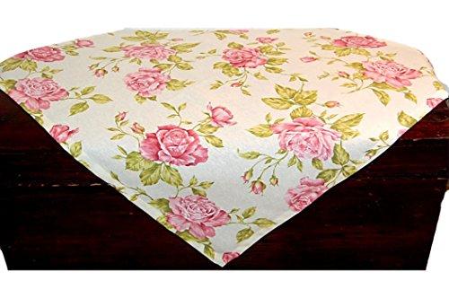 Tischdecken 85x85 cm eckig Creme Rosen Rosa Landhaus Romantik Bangor Baumwollmischung Sommerdecke...