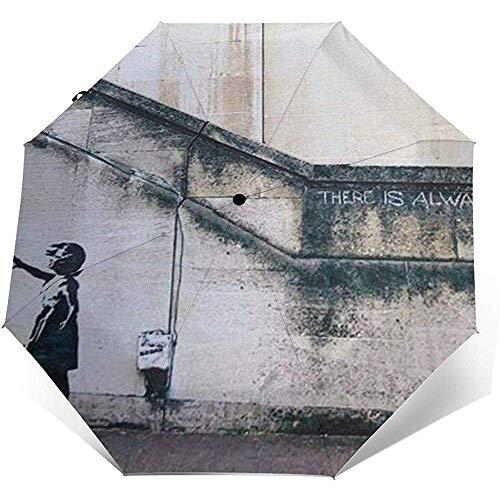 The Banksy Girl Taschenschirm wasserdicht-Sun Block-Auto Open&Close (schwarzer Kleber)